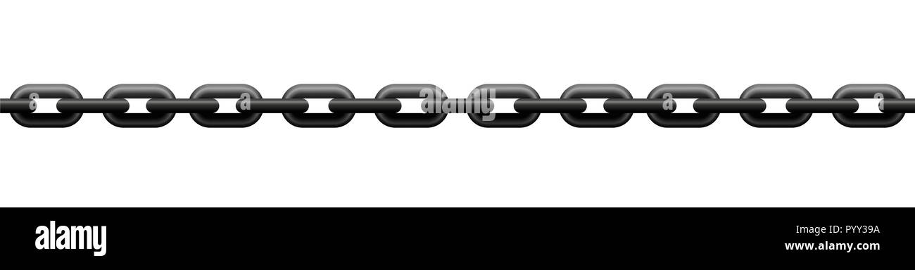 Very tense iron chain, seamless extendable - illustration on white background. - Stock Image