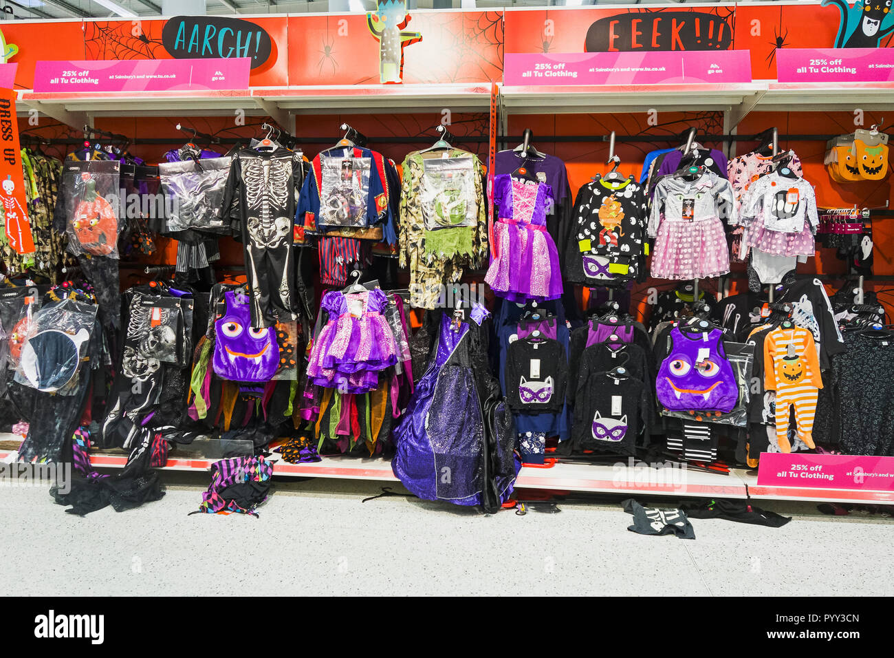 Halloween costumes for sale in UK supermarkets. - Stock Image