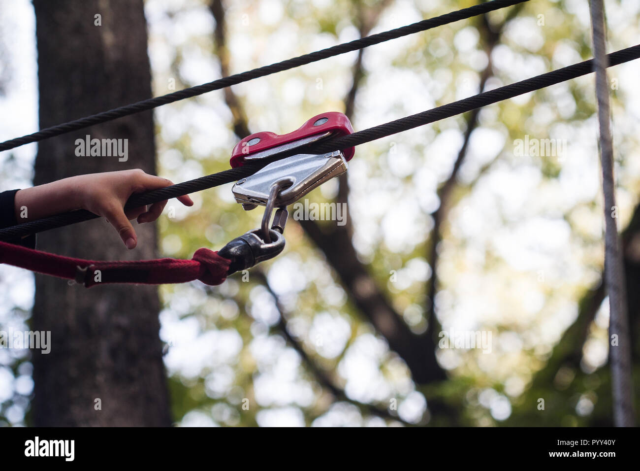 closeup of child hand using a safety climbing equipment and carabiner on a zip line in a forest adventure park - Stock Image