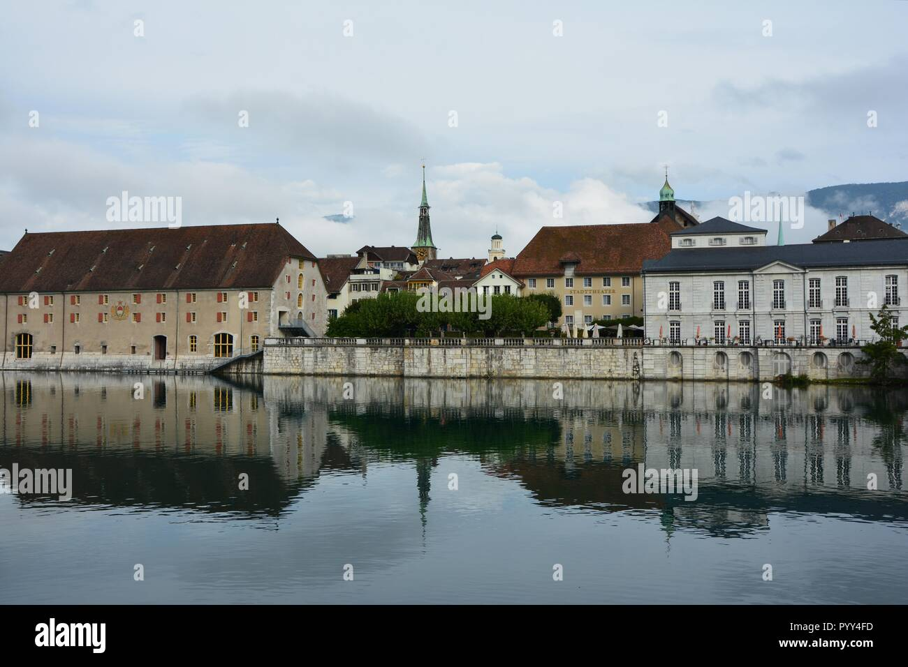 Aare river flowing through baroque town of Solothurn, Switzerland Stock Photo