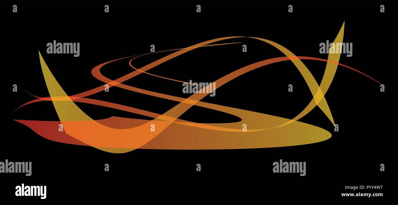 Abstract curved light lines on black background - Vector - Stock Image