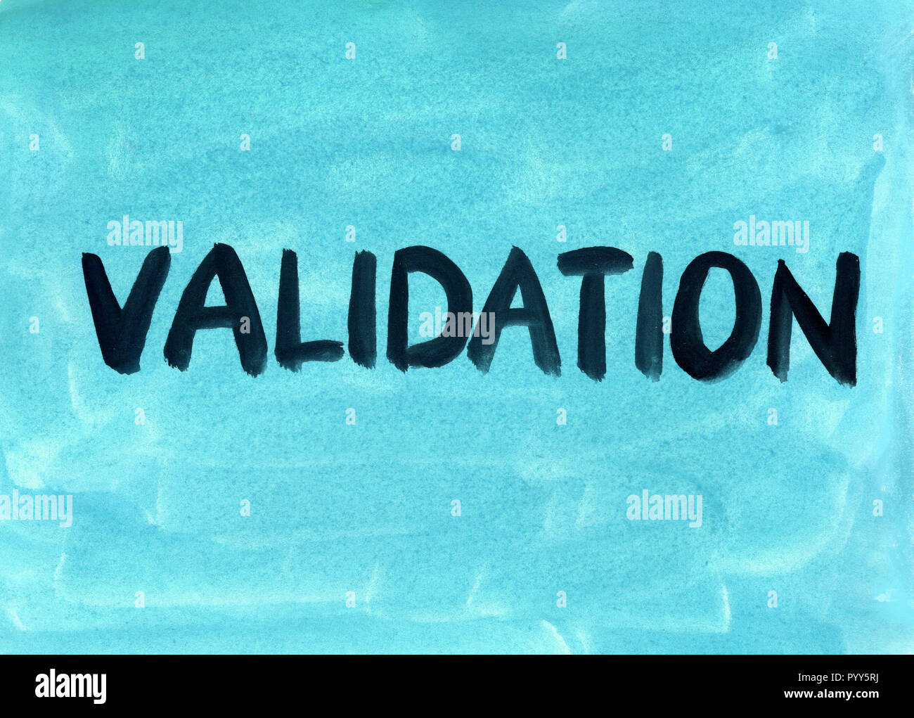 validation concept word background gouache paint - Stock Image