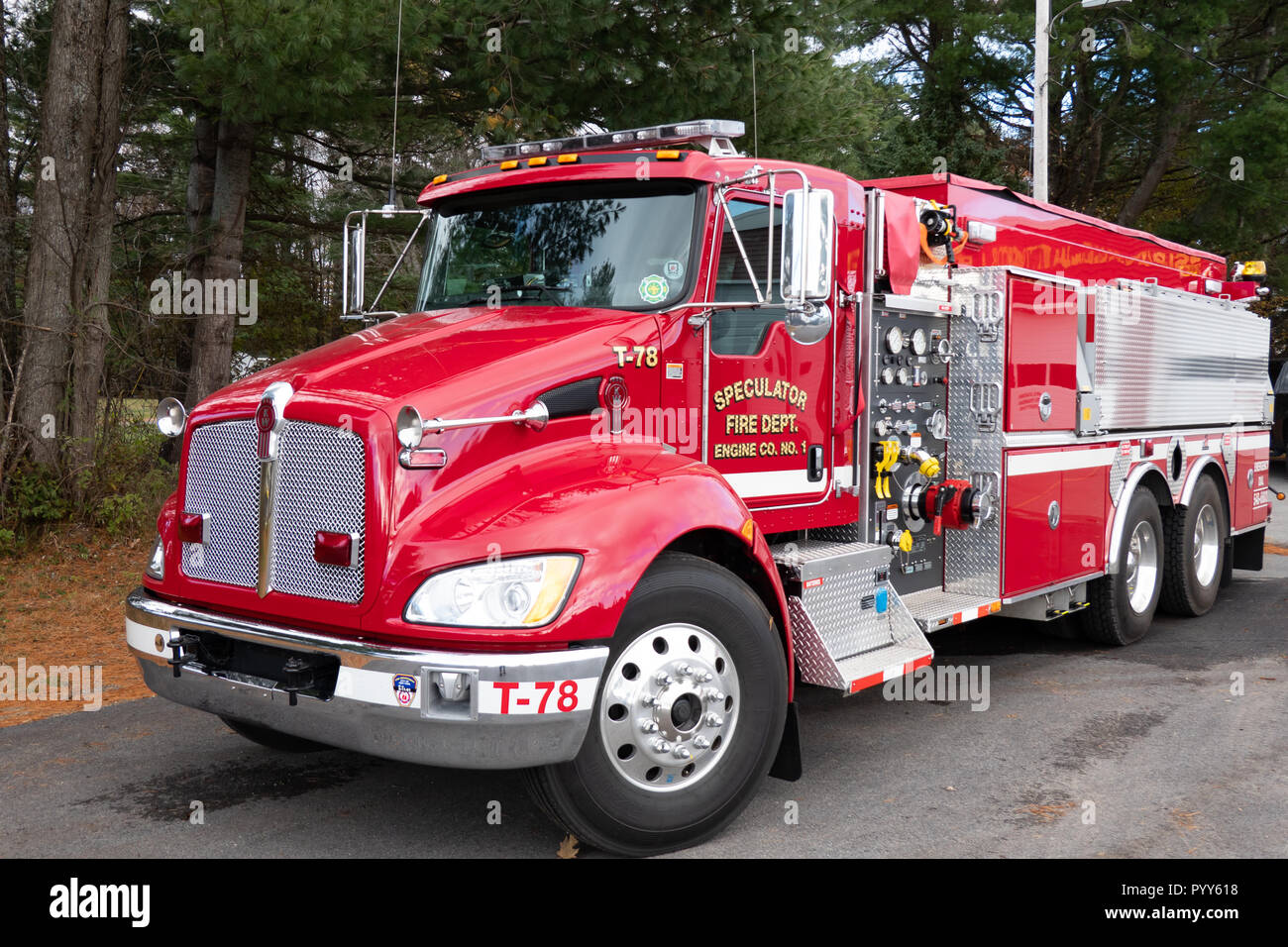 A Kenworth fire truck at the Speculator Fire Dept. in Speculator, NY USA - Stock Image