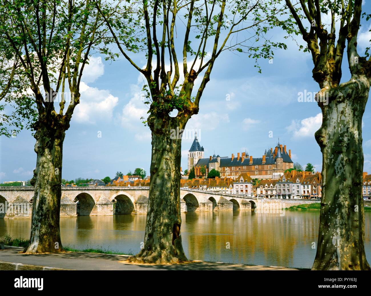 Over the River Loire to the 16 C. stone bridge, royal Chateau and town of Gien in the Loiret departement, France - Stock Image