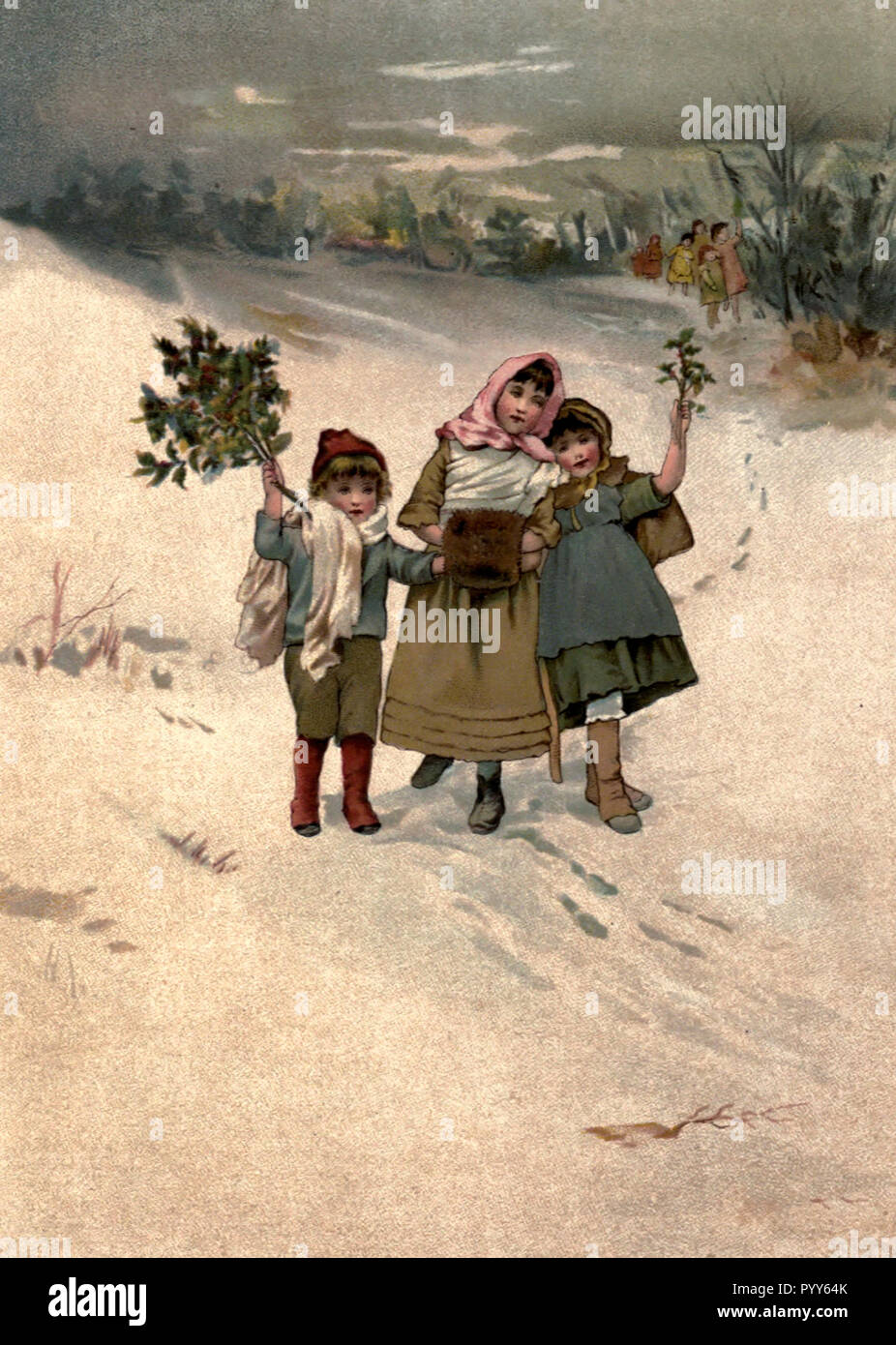 Gathering greenery for Christmas in the Victorian Era - Stock Image
