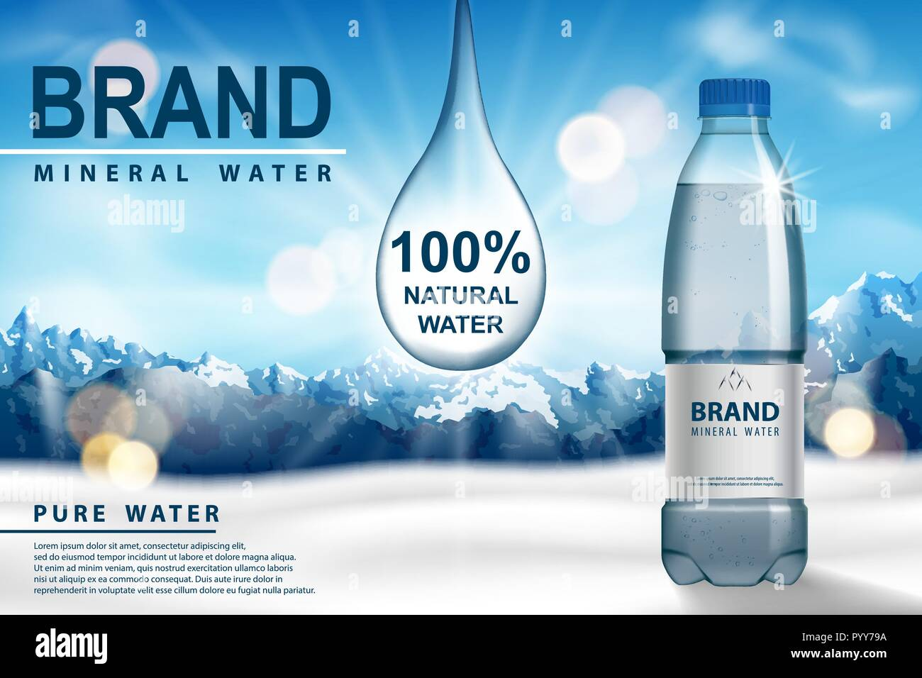 Mineral water ad, plastic bottle with pure mineral liquid on snow with mountain background. Transparent Drinking water Bottle design. 3d vector - Stock Vector