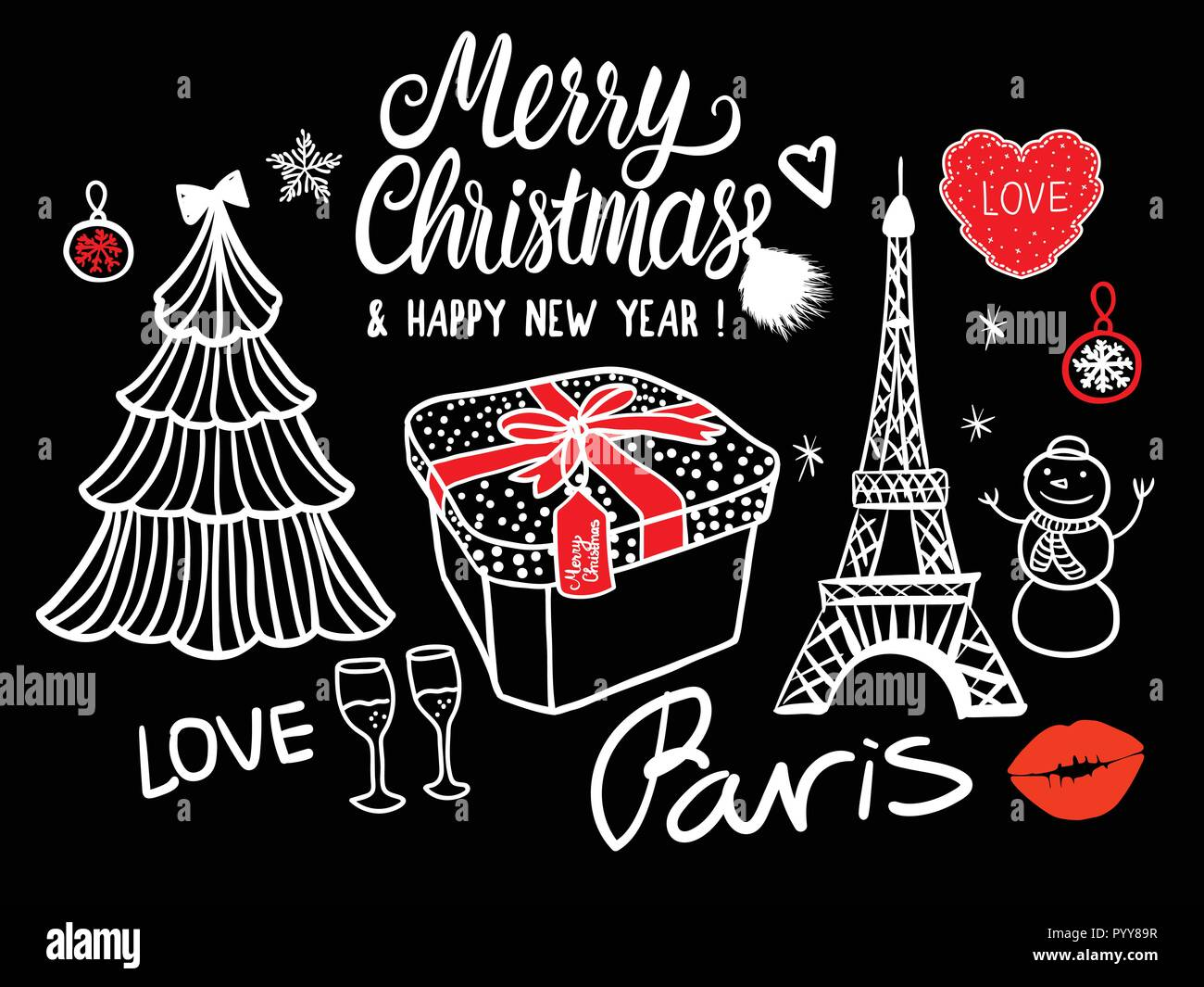 Merry Christmas and Happy New Year Lettering Card fashion sketch ...
