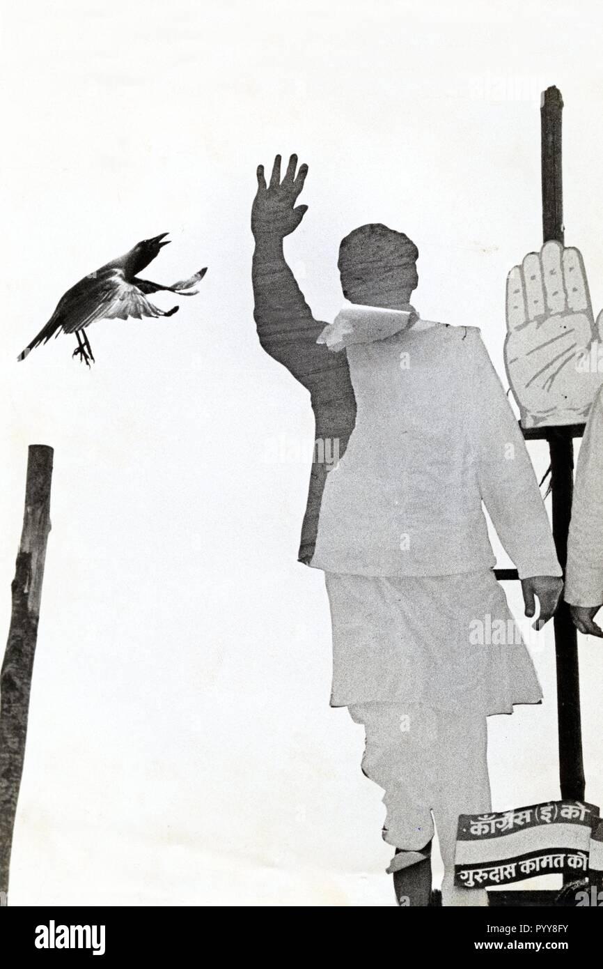 Poster of Prime Minister of India Rajiv Gandhi, Mumbai, Maharashtra, India, Asia, 1985 - Stock Image