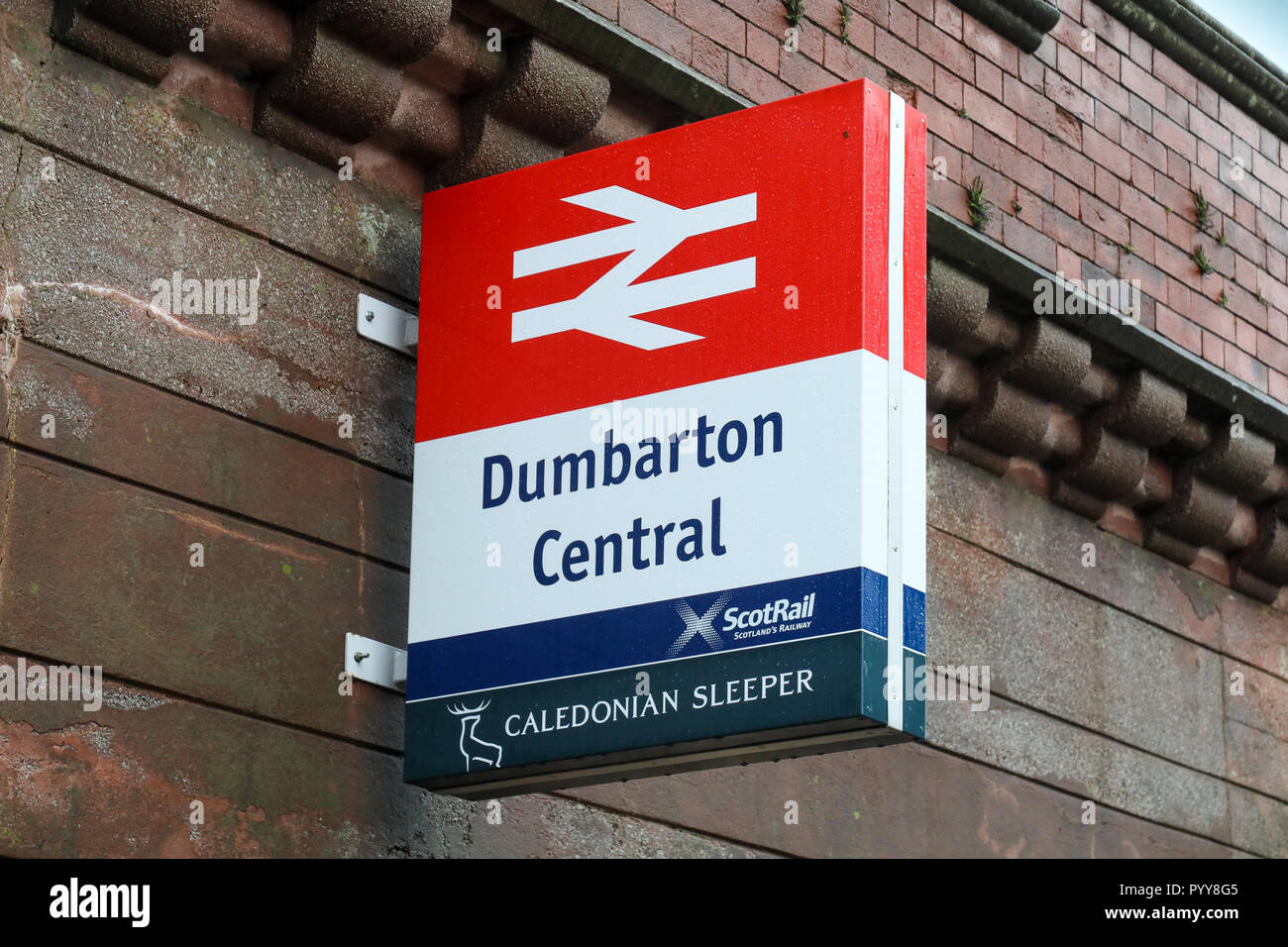 Dumbarton Central train station in West Dunbartonshire, Scotland - Stock Image