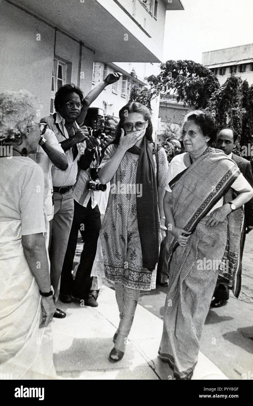 Former Prime Minister of India Indira Gandhi and Sonia Gandhi, India, Asia, 1970s - Stock Image