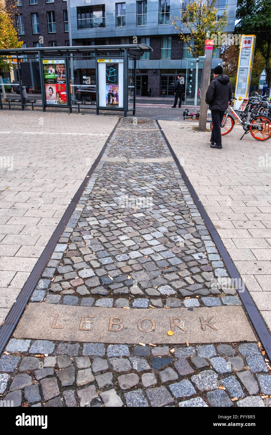 Old disused rail track with names of Polish destination stations at the Nordbahnhof railway station, Mitte, Berlin - Stock Image