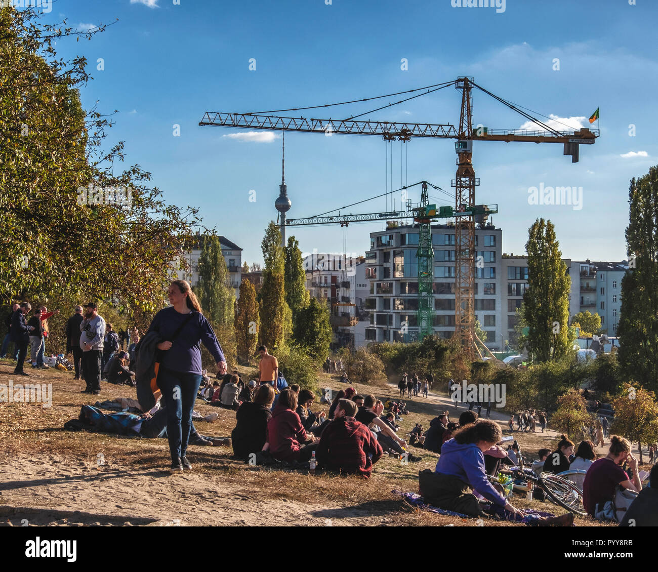 Berlin Mauer Park. The entry point for a tunnel-boring machine that is excavating a 650 metre long storage channel for waste water that will be connec - Stock Image