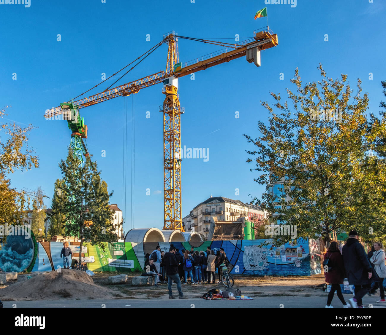Berlin Mauer Park.The entry point for a tunnel-boring machine that is excavating a 650 metre long storage channel for waste water - Stock Image