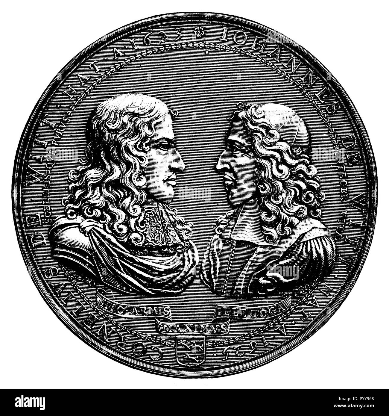 Portraits of the brothers Cornelius and Johann de Witt on a coin,   1899 - Stock Image