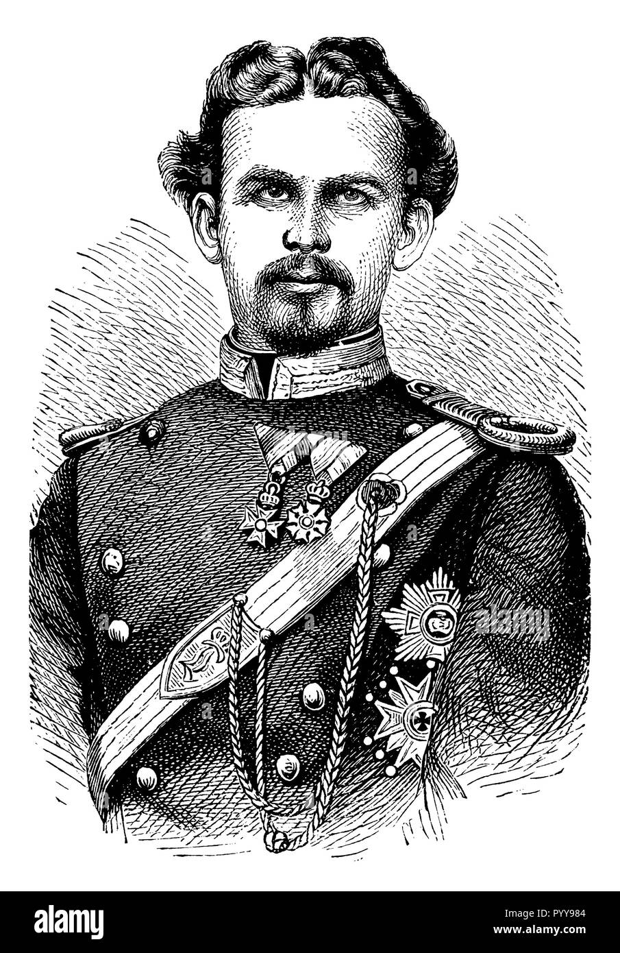 Ludwig II, King of Bavaria (1845 - 1886), the 'fairytale king'. Wood engraving after a photograph,   1899 Stock Photo
