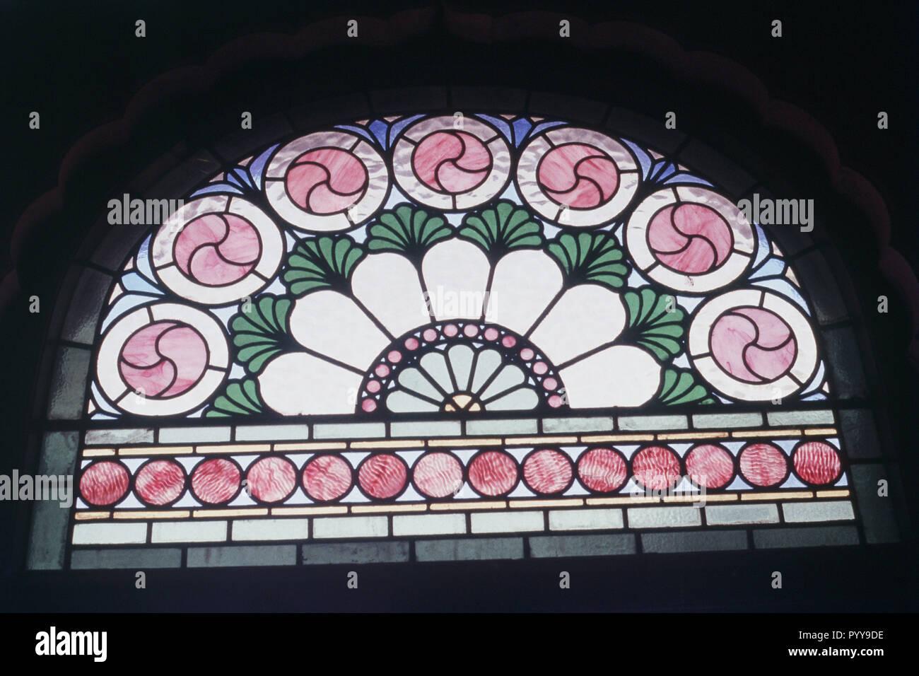 Tinted glass at Lalgarh Palace, Bikaner, Rajasthan, India, Asia - Stock Image