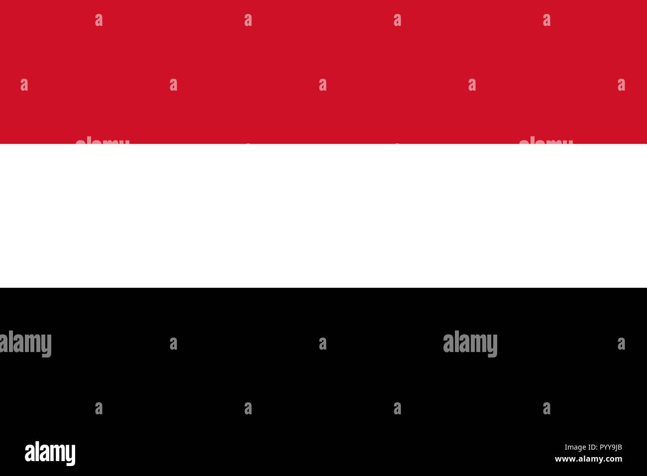 Simple flag of Yemen. Correct size, proportion, colors. - Stock Vector