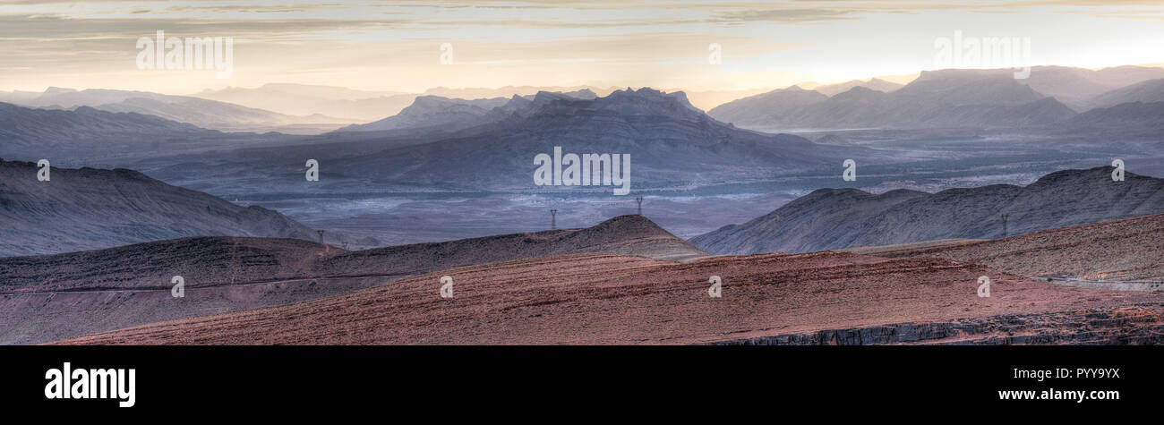 Amazing panorama landscape along Tizi-n-Tinififft, a high mountain pass at an elevation of 1.660m (5,446ft) above the sea level, located in mid-southe - Stock Image