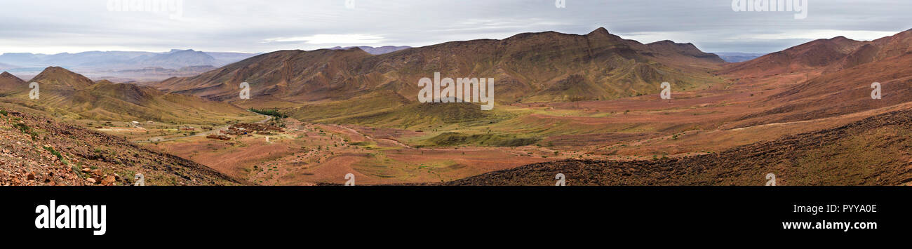 Amazing panorama landscape showing the Atlas Mountains Western Sahara Desert of Morocco - Stock Image