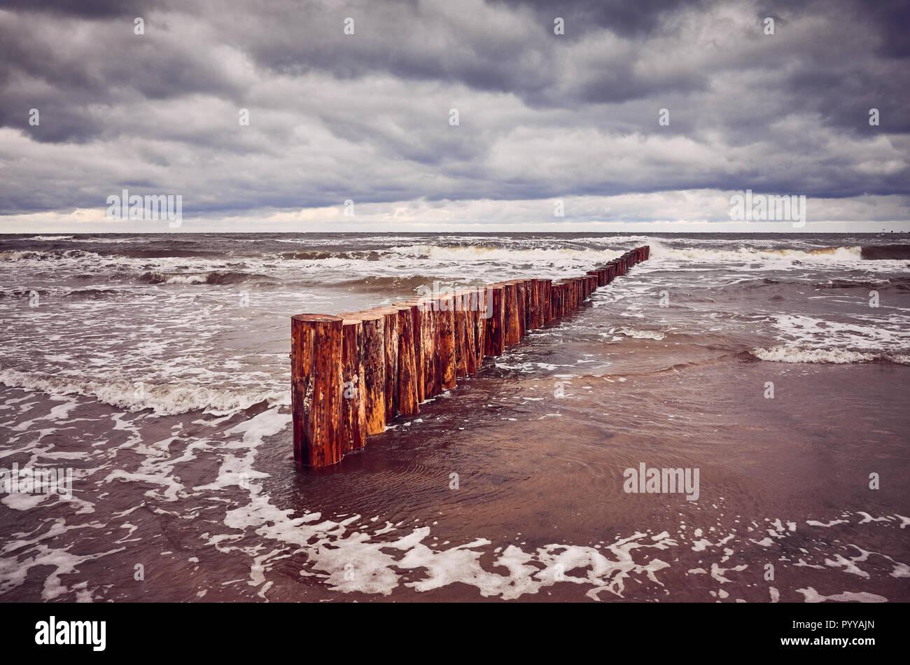 BEACH AT TROUVILLE SEASCAPE ANTIQUE SWIMMING-SUITS