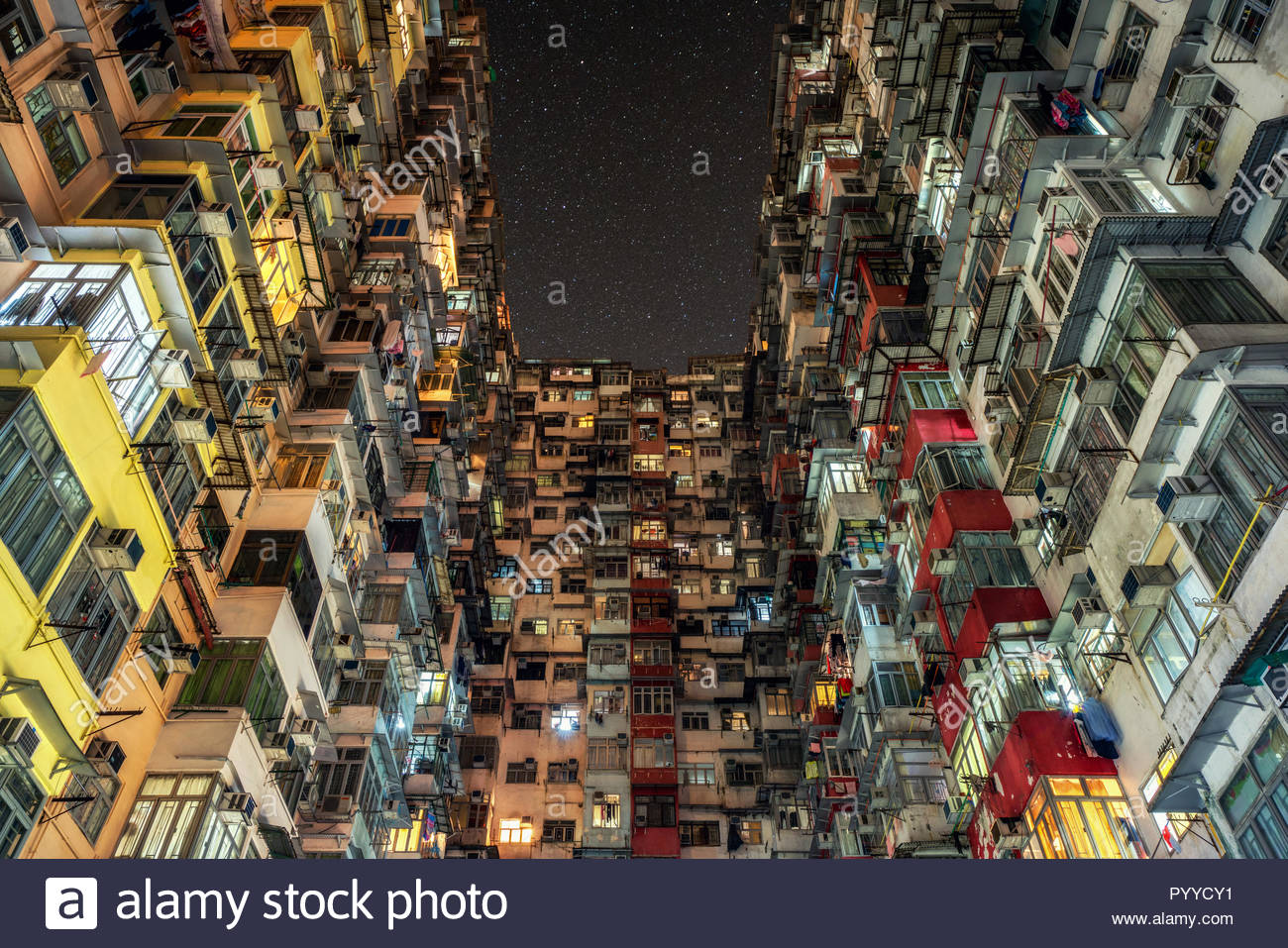 Stars in the night sky aboveHong Kong - Stock Image