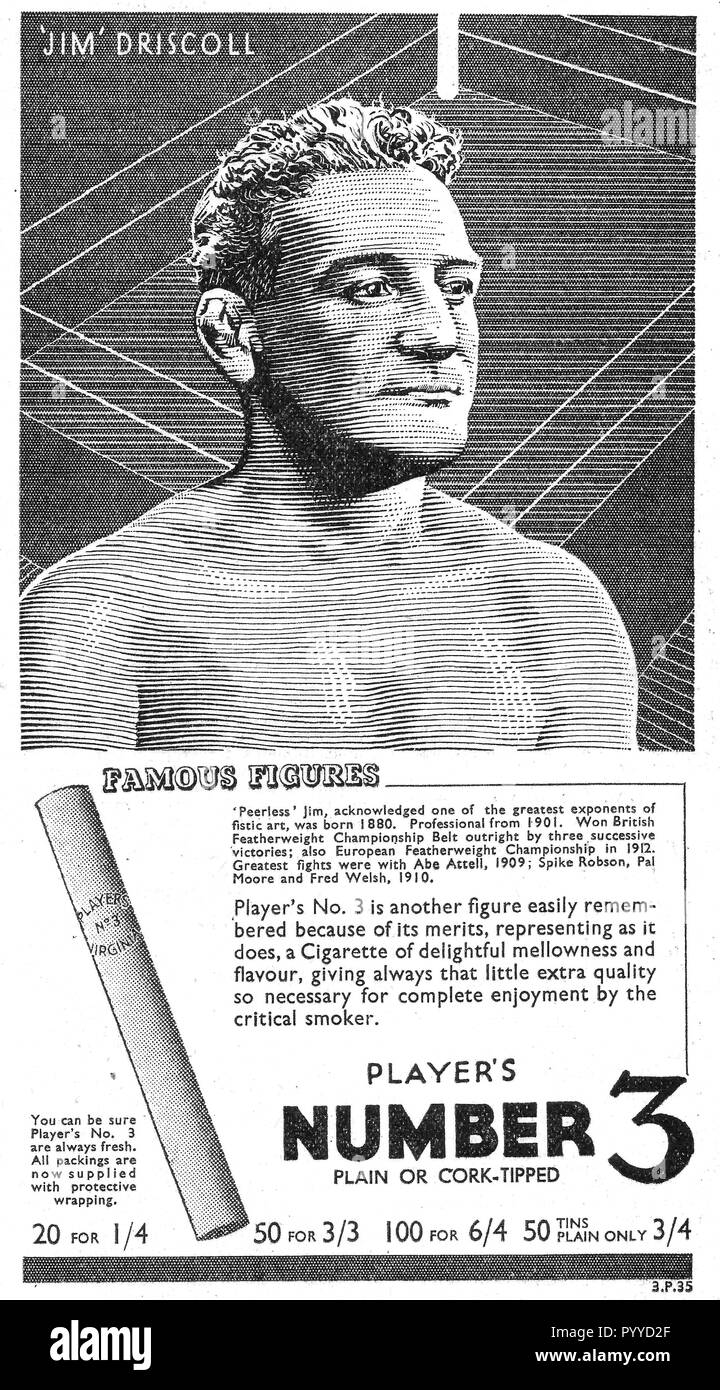 1936 Players Number 3 cigarette Advert featuring portrait of the Welsh Boxer 'Peerless' Jim Driscoll (1880-1925) British Featherweight Boxing Champion - Stock Image