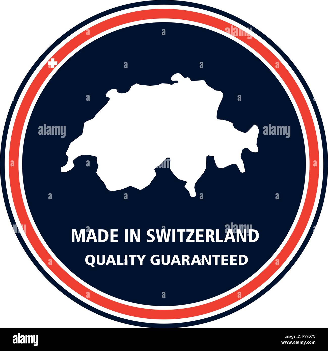 Made in Switzerland quality stamp. Vector illustration - Stock Image