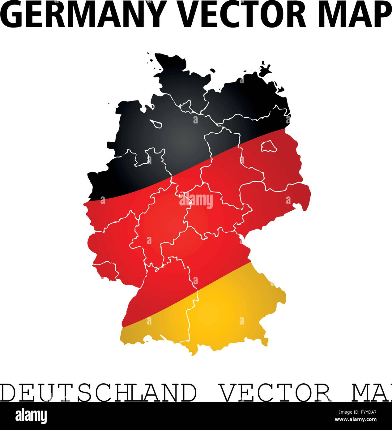 Germany vector map. Colors of national flag - Stock Vector