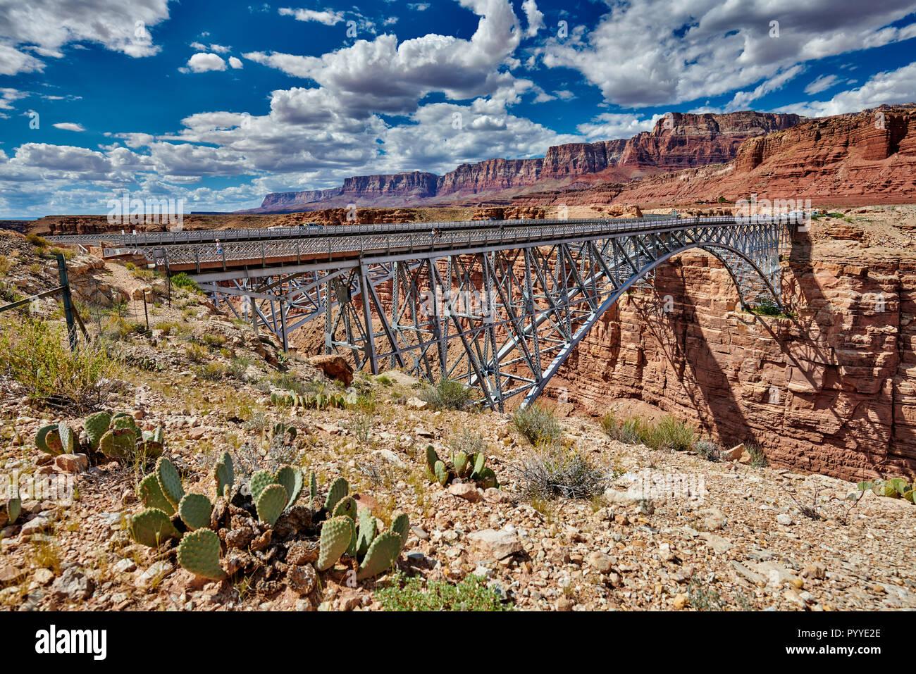 Navajo Bridge, Marble Canyon and Vermillion Cliffs, Arizona, USA, North America Stock Photo