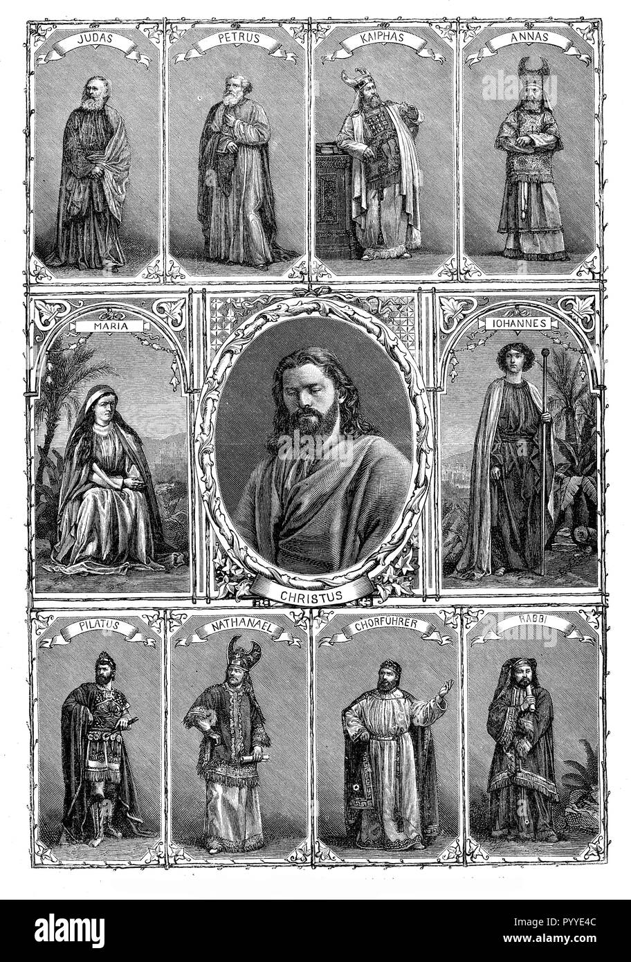Vintage poster with the representative characters of the passion of the Christ play - Stock Image