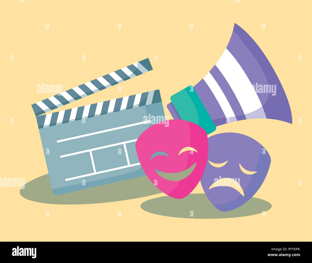 clapboard director of cinema with megaphone and masks vector