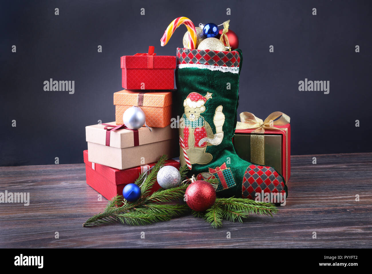 Christmas Background Advent Calendar And Santas Shoe With Gifts On