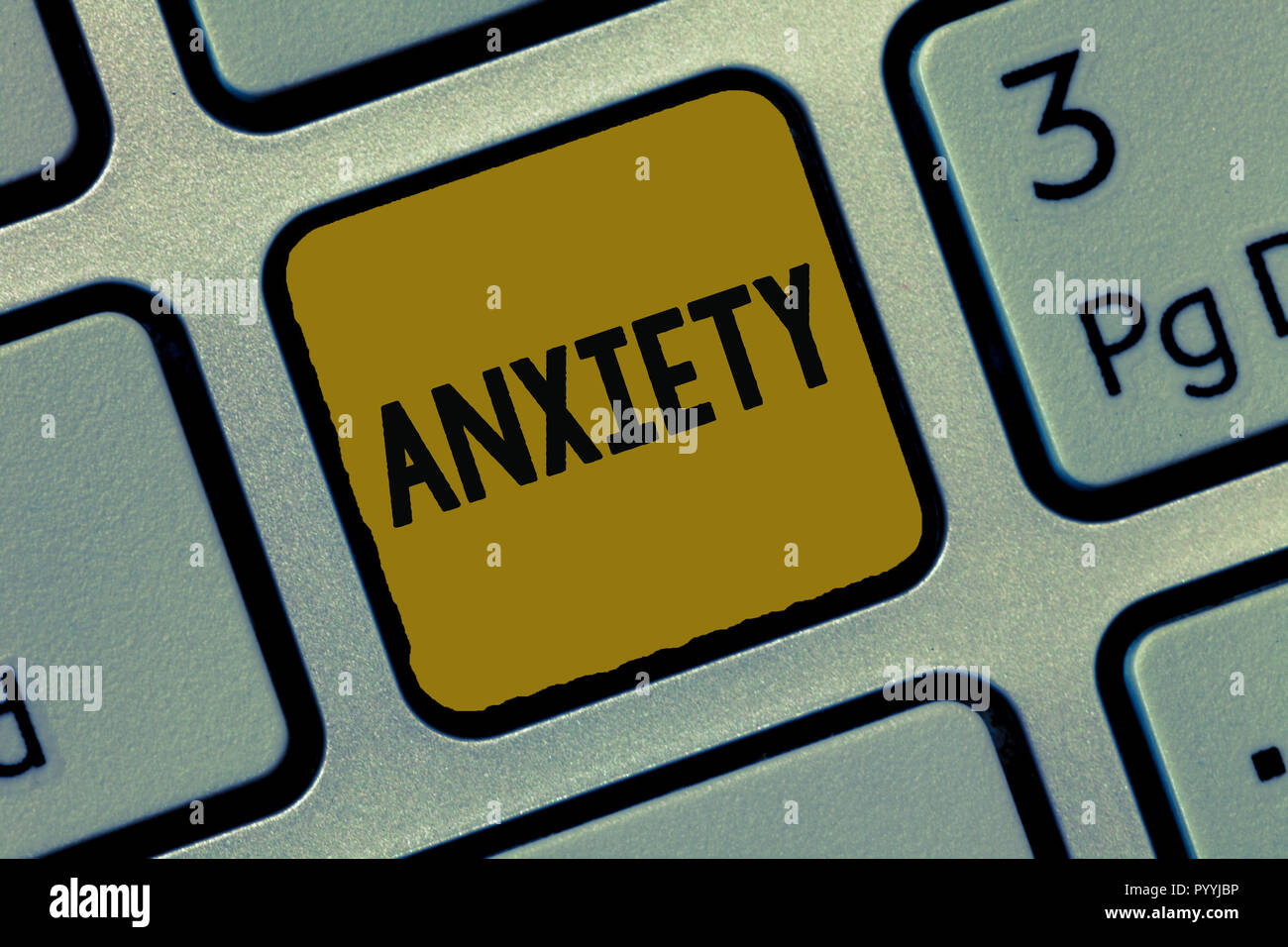 Text sign showing Anxiety. Conceptual photo Excessive uneasiness and apprehension Panic attack syndrome. - Stock Image