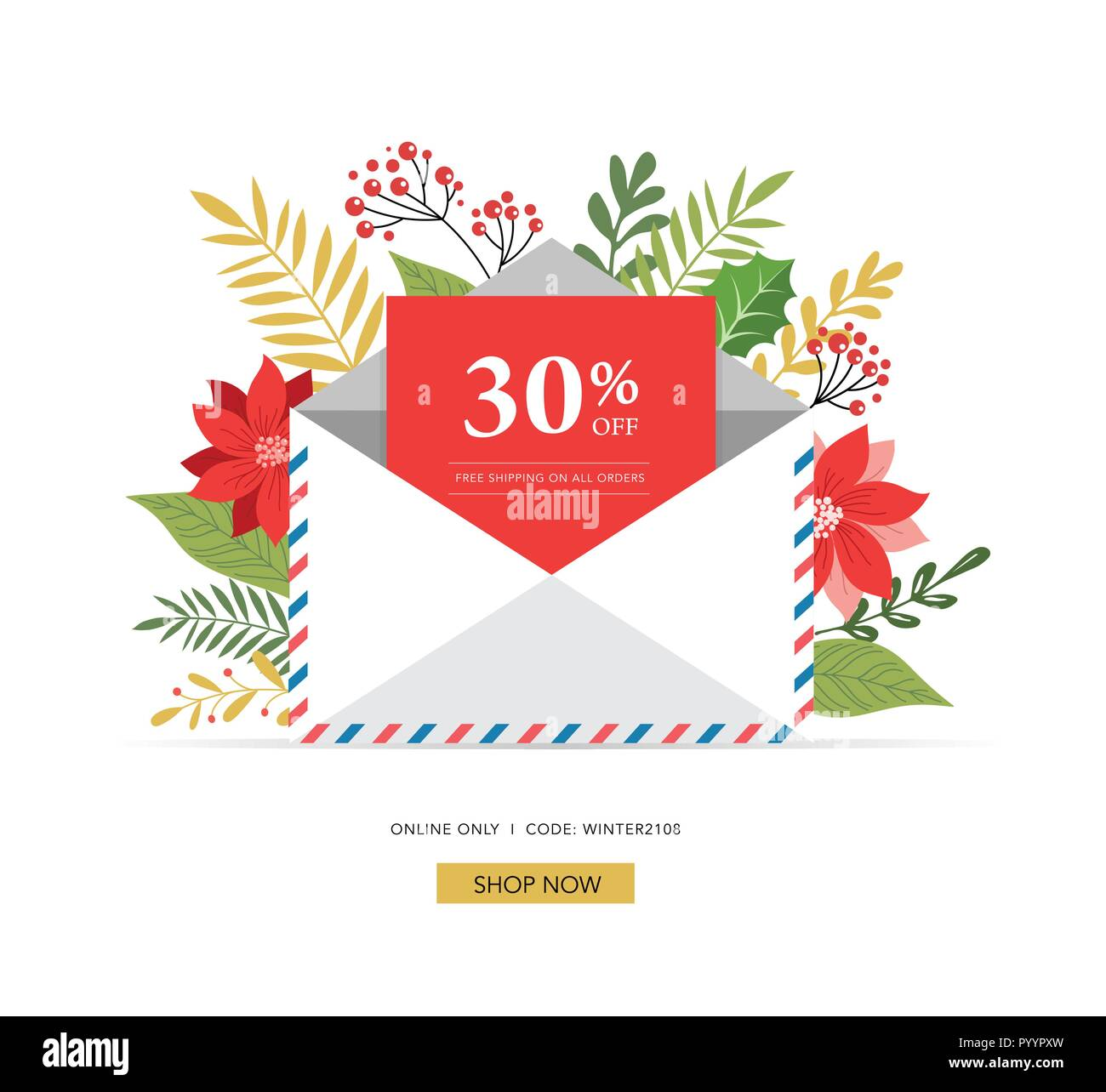 promo christmas new year banner sale poster and flyer with envelope letter for santa