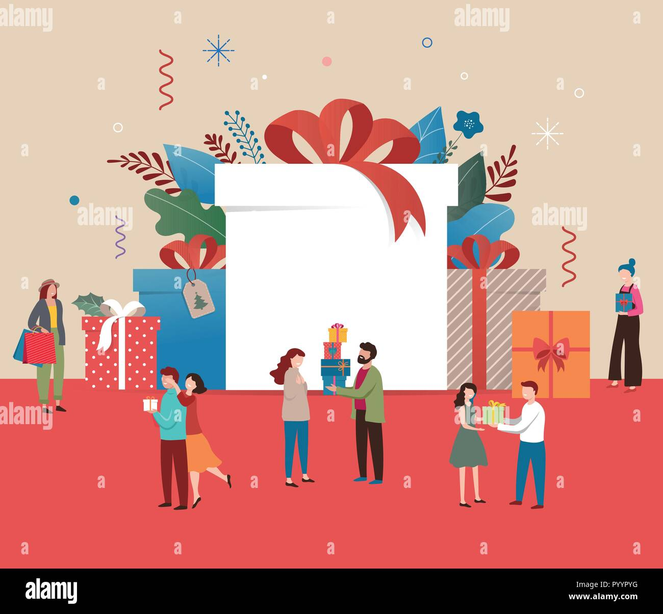 promo christmas new year banner sale poster and flyer with giant gift boxes and small people men and women