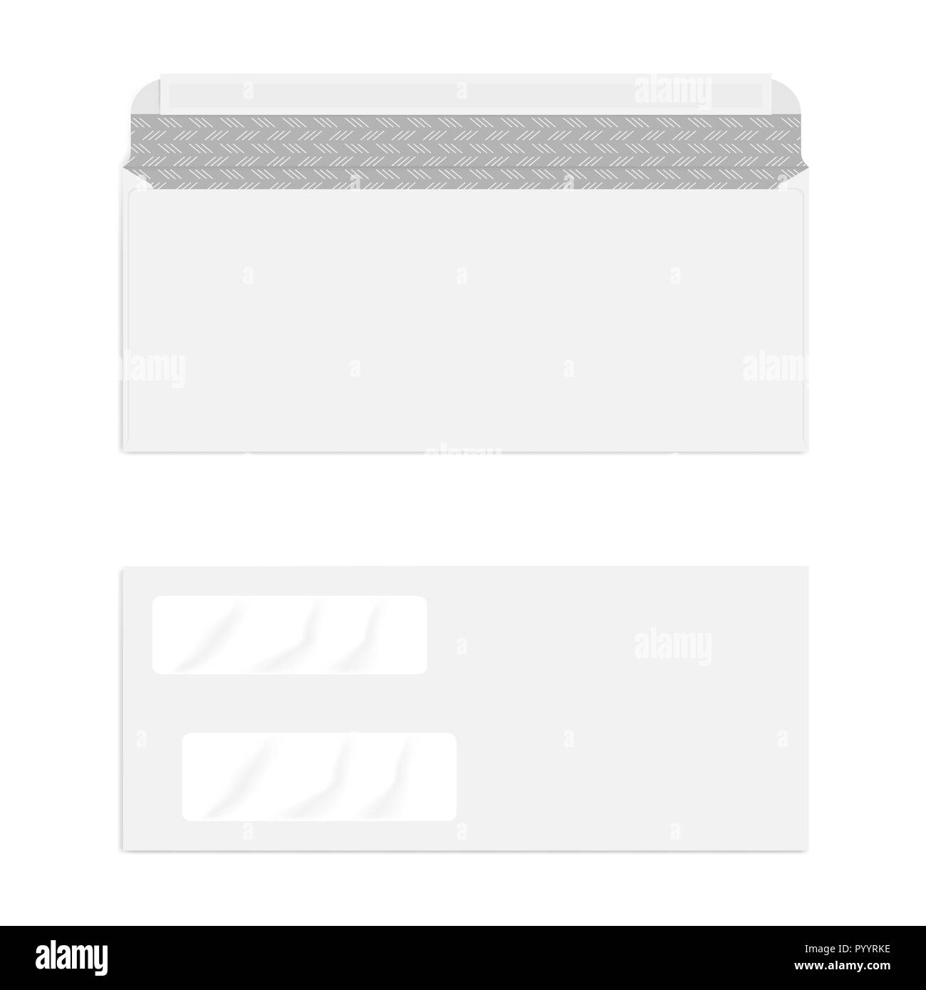 da8405388ca7 Blank double window self seal check envelope with security pattern isolated  on white background