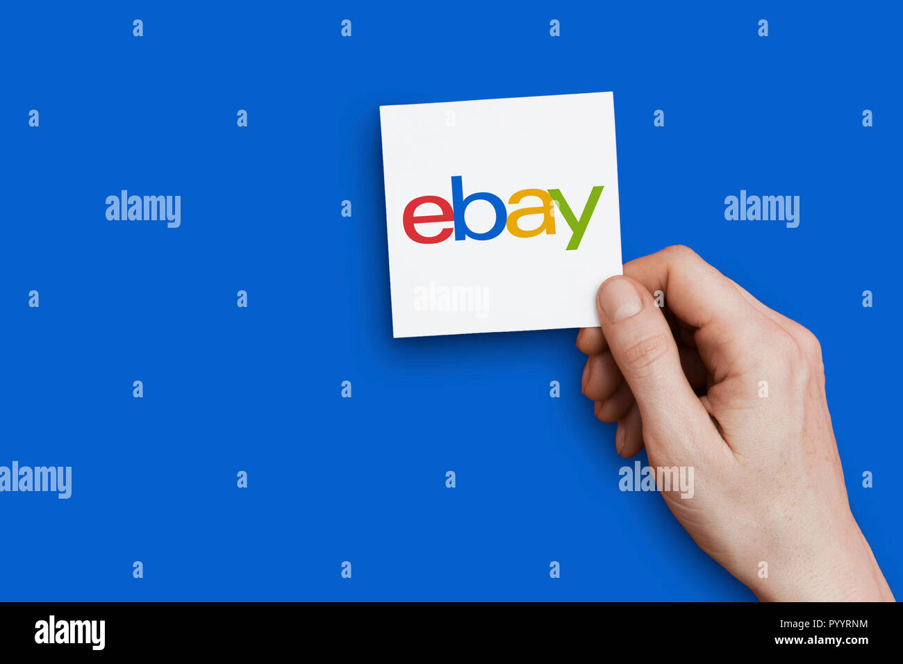 London Uk October 30th 2018 Hand Holding Ebay Logo Ebay Is An Online Marketplace Stock Photo Alamy