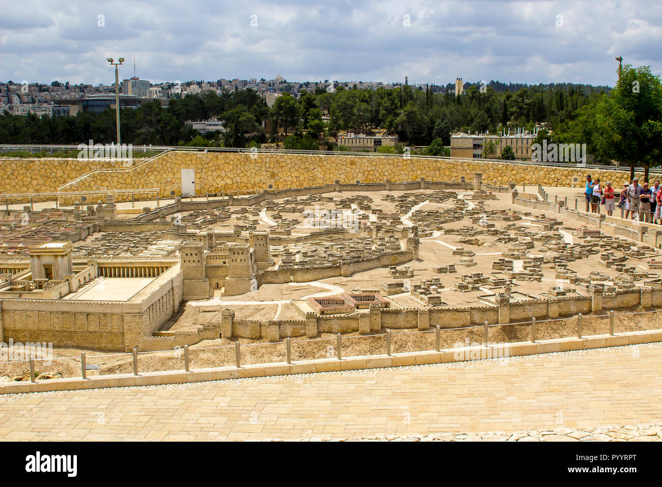 9 May 2018 Visitors walk around the outdoor scale model of the ancient city of Jerusalem at the Israel Museum in Jerusalem. The model has many arbitra Stock Photo