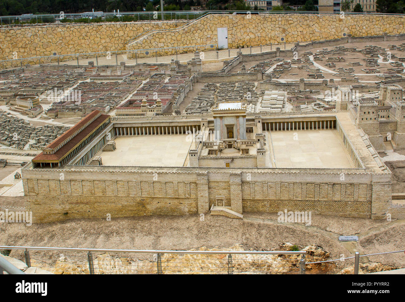 9 May 2018  the outdoor scale model of the ancient city of Jerusalem with Herod's Temple at the Israel Museum in Jerusalem. The model has many arbitra Stock Photo