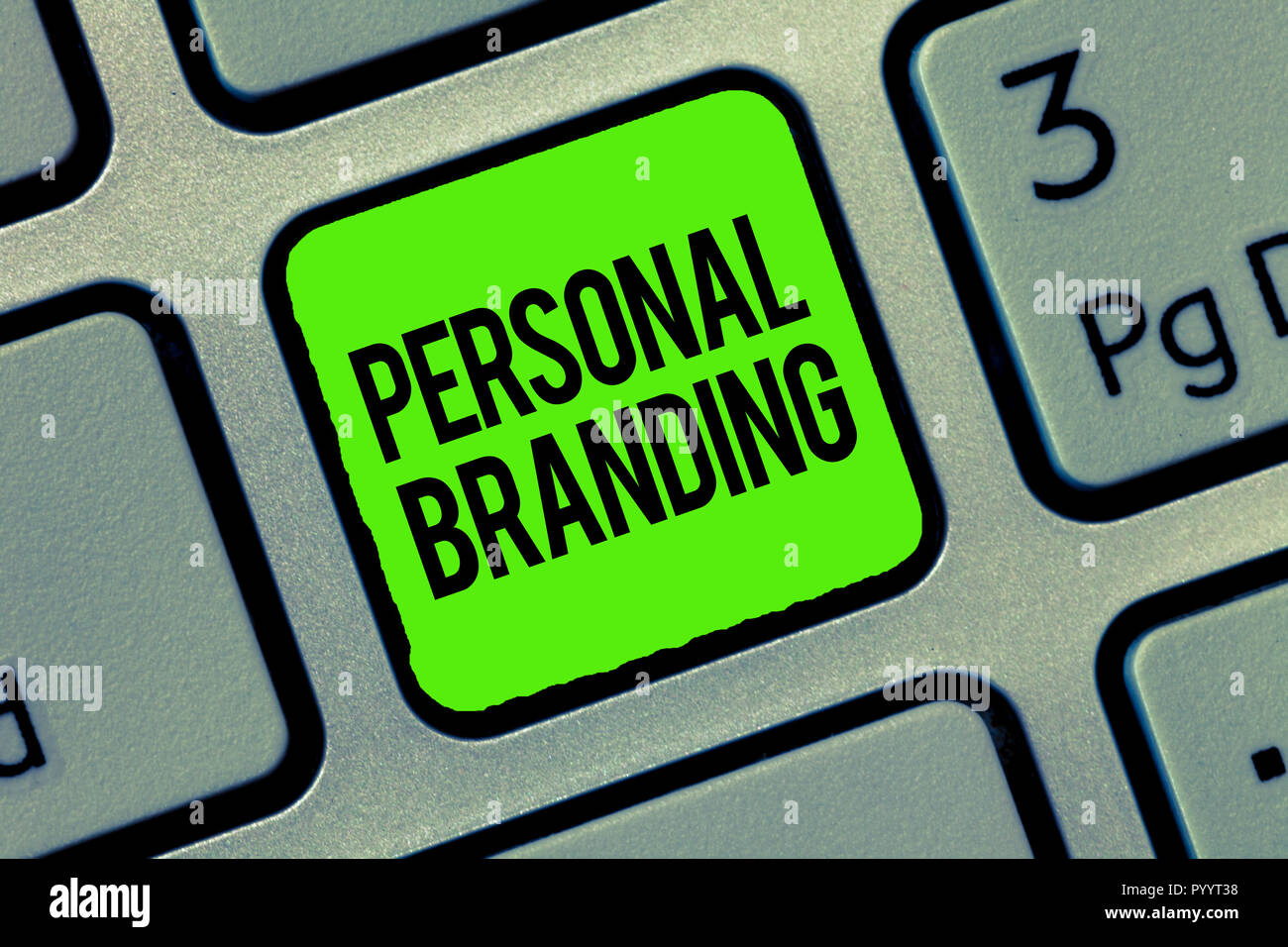 Writing note showing Personal Branding. Business photo showcasing Marketing themselves and their careers as brands. - Stock Image