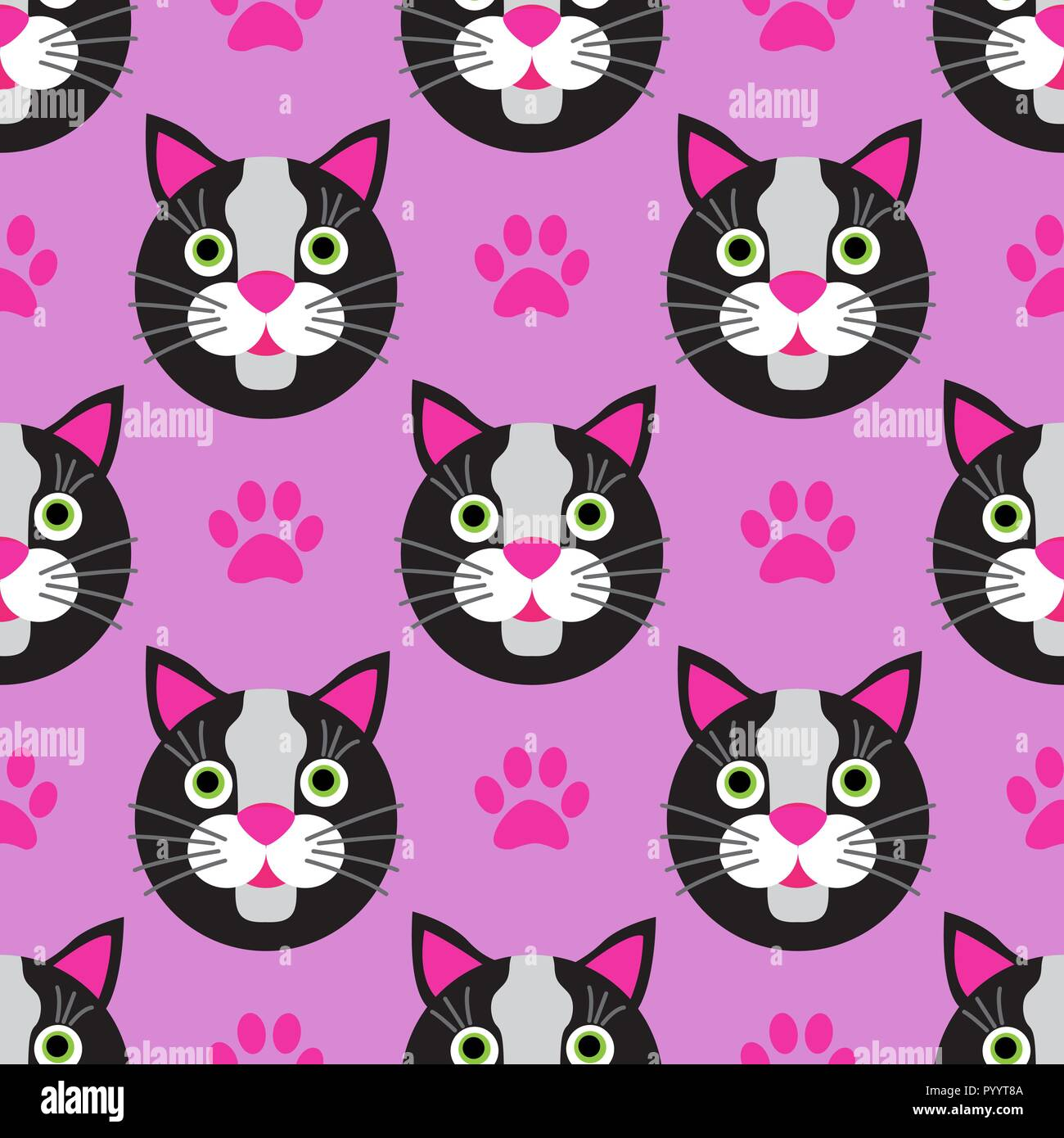 Cute cats faces seamless kids pink pattern - Stock Vector