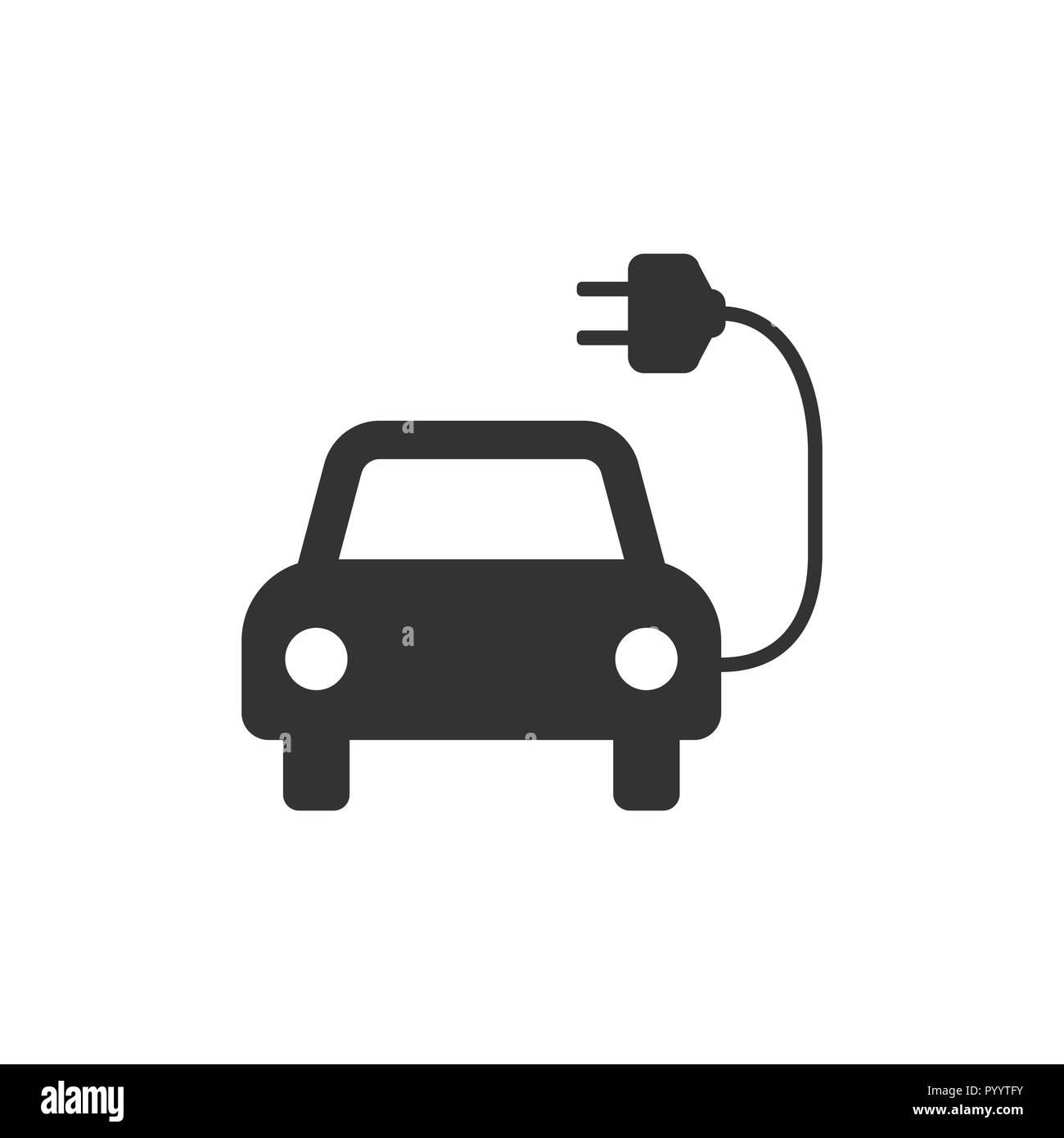 Electric auto icon. Flat design. Vector illustration. - Stock Image