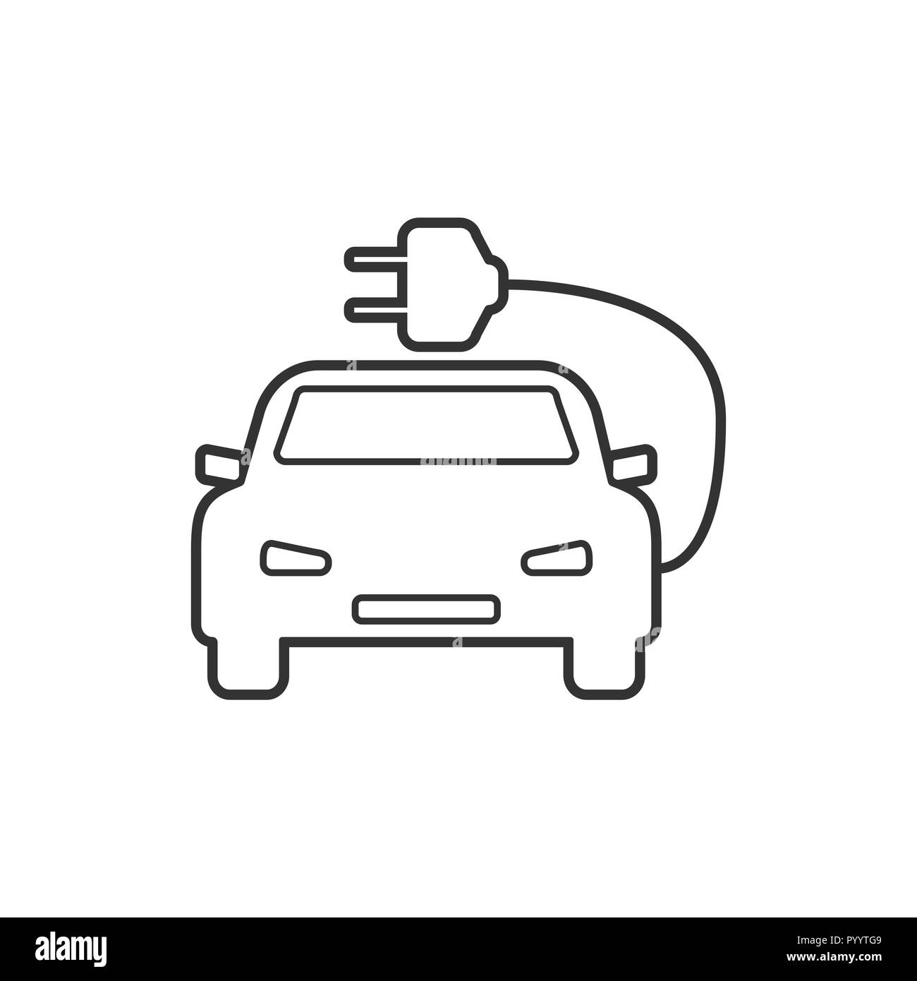 Electric auto icon. Flat design. Vector illustration. - Stock Image