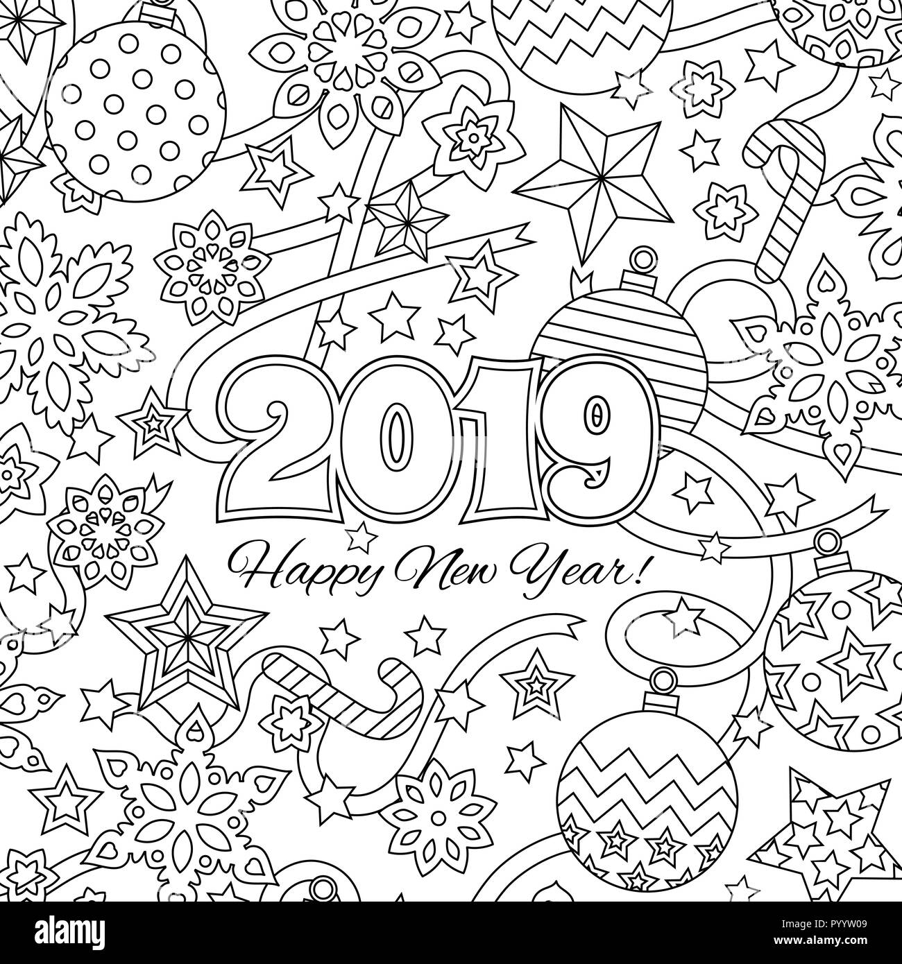 New Year Congratulation Card With Numbers 2019 And Festive