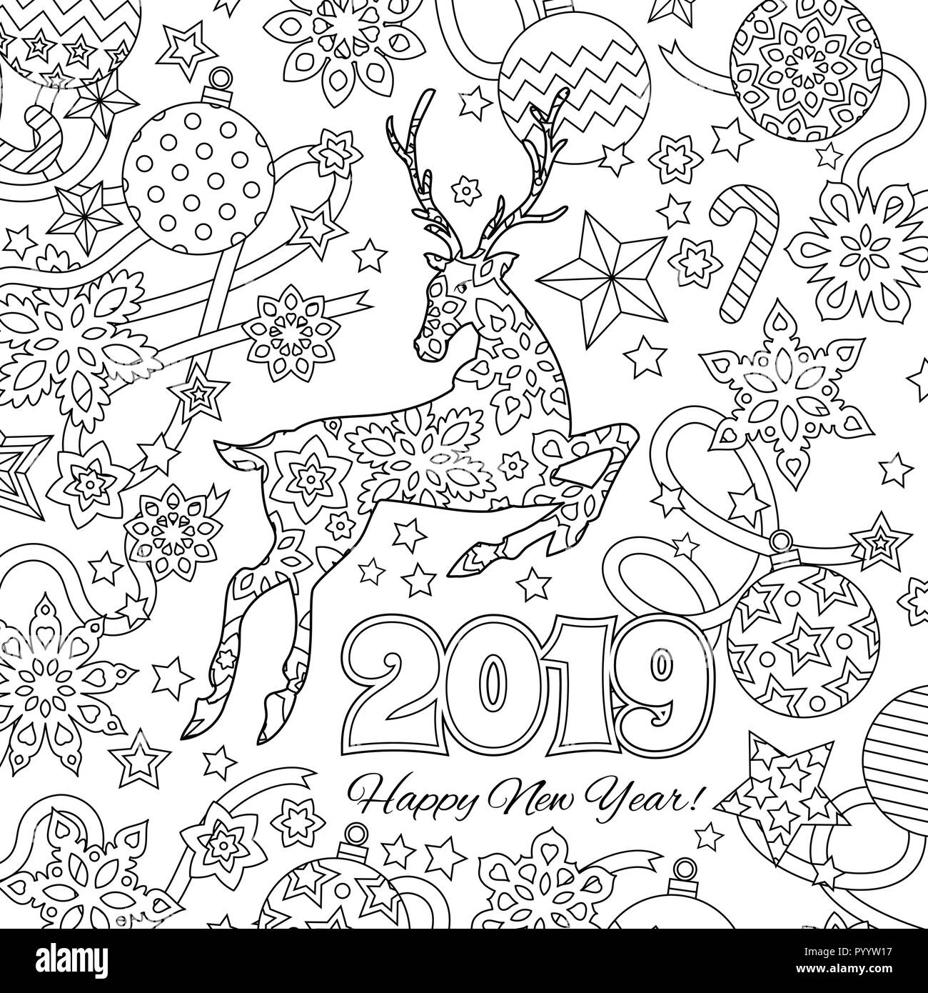 New Year Congratulation Card With Numbers 2019 Deer And