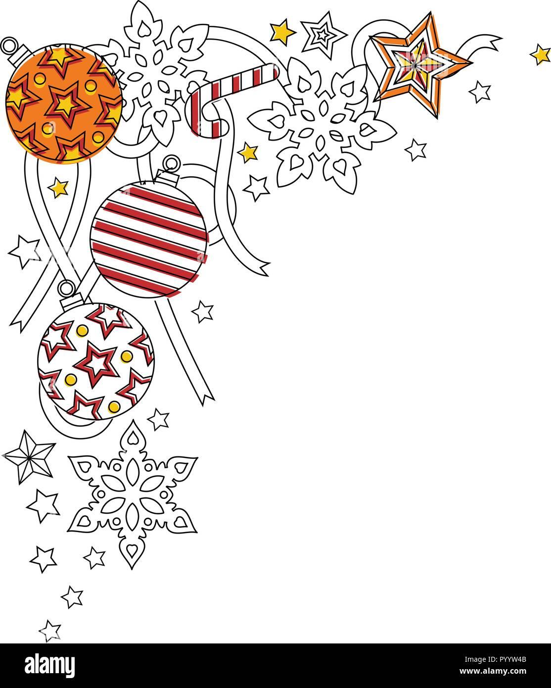 new year frame border with doodle snowflakes fir tree balls ribbon decorative border