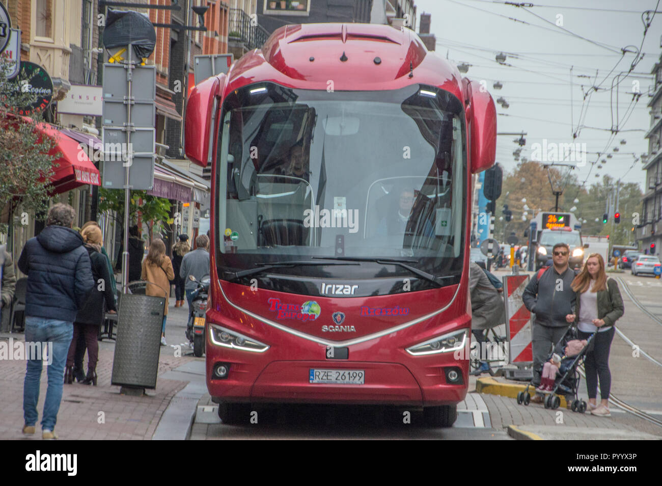 Bus From The WWW.Trans-Europa.Pl Company At Amsterdam The Netherlands 2018 - Stock Image