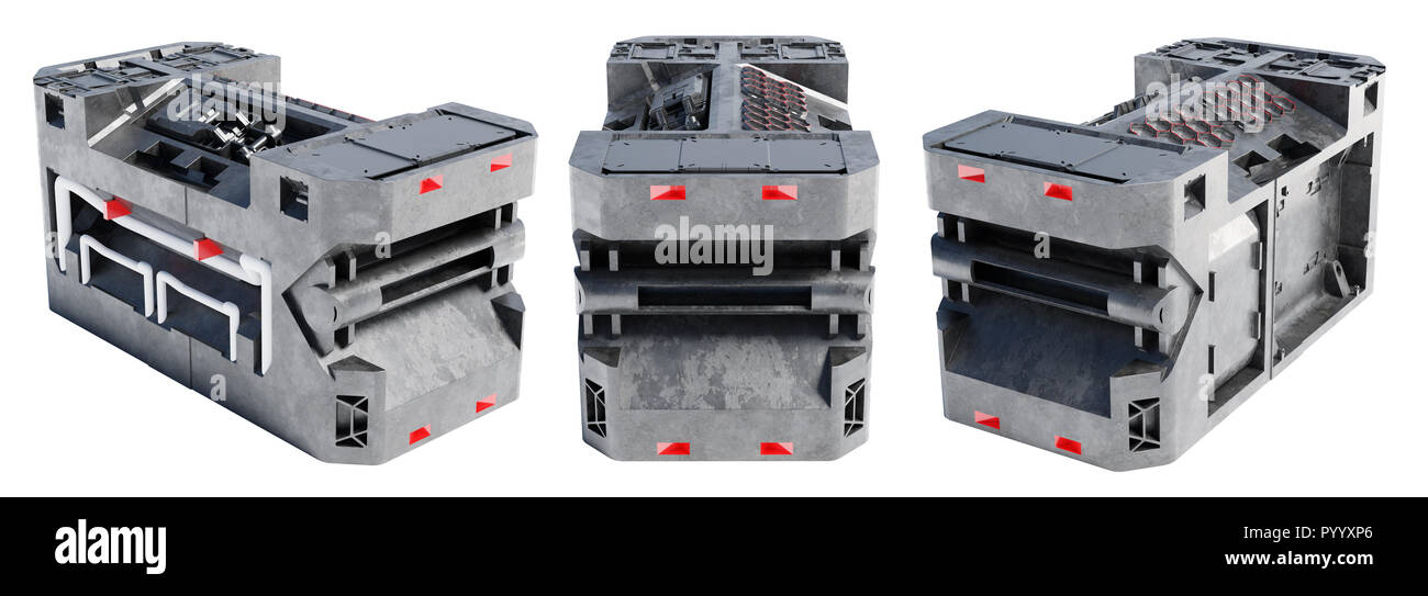 Back View with Two other Views of a Technical Sci-Fi Box like a Power Container on a white background - Stock Image
