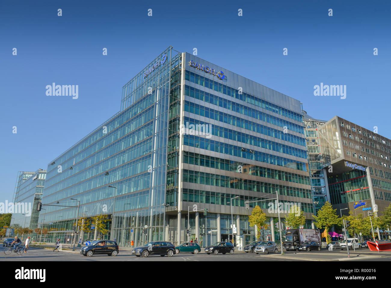 Sanofi, Sony centre, Potsdam place, zoo, middle, Berlin, Germany, Sony-Center, Potsdamer Platz, Tiergarten, Mitte, Deutschland Stock Photo