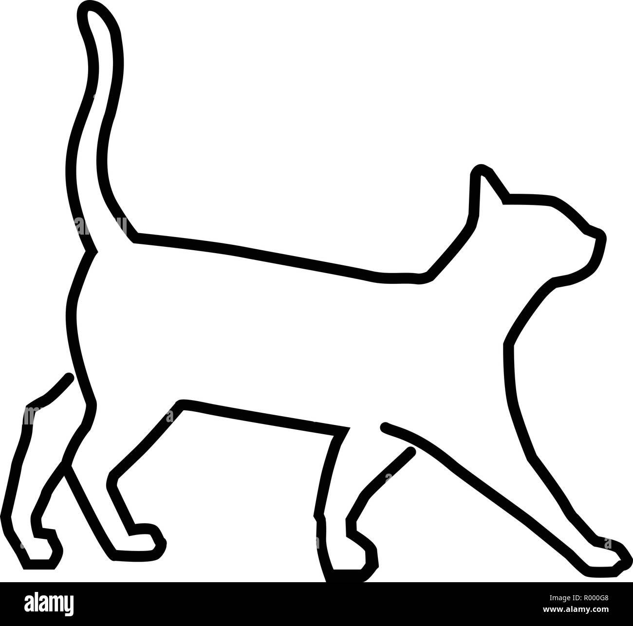 simple outline illustration cat vector, cat outline for ...